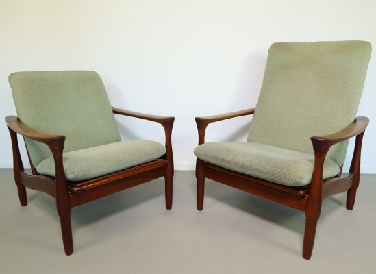 Rare set of two teak armchairs by Rob Parry for De Ster Gelderland, 1950's