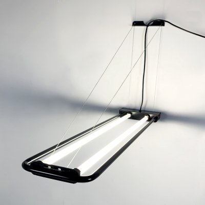 Black Large Fluorescent Hanging Light by Gian N. Gigante for Zerbetto, 1980s