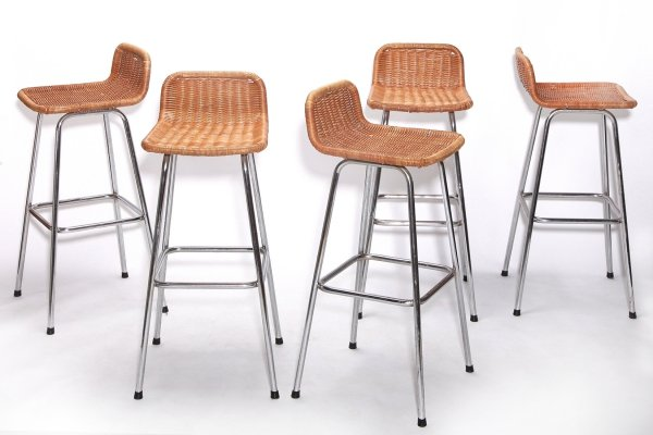 Set of 5 Vintage Rattan Bar Stools, 1970s