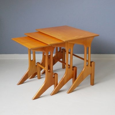 Set of 3 Wooden Nesting Tables, 1950s