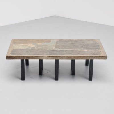 Paul Kingma rectangular coffee table in stone & concrete, 1963