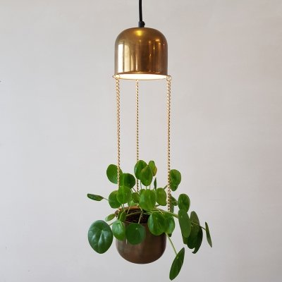 Brass hanging lamp planter by Abo Randers, Denmark 1970s