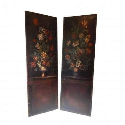 2x Floral Architectural oil on leather Wall Panels, 1930s
