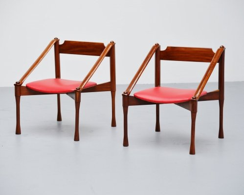 Pair of Giulio Moscatelli lounge chairs, Italy 1950