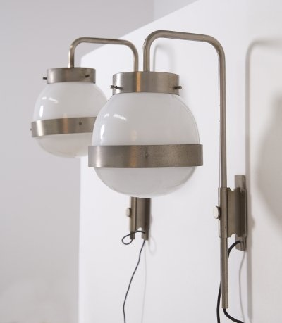 Pair of adjustable 'Delta' wall lamps by Sergio Mazza for Artemide, 1960s