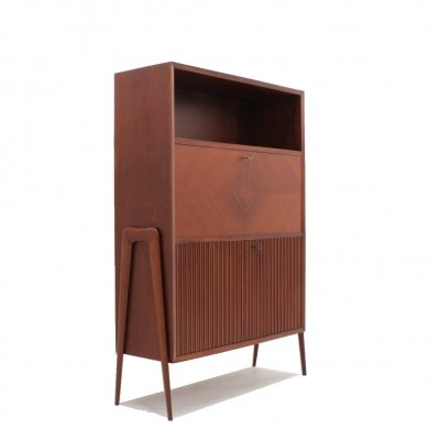Italian design fold out desk cabinet, 1950s