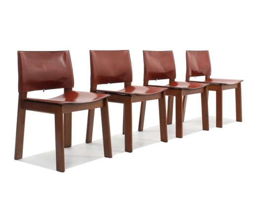 Set of 4 cognac leather dining chairs by Gavina, 1970s