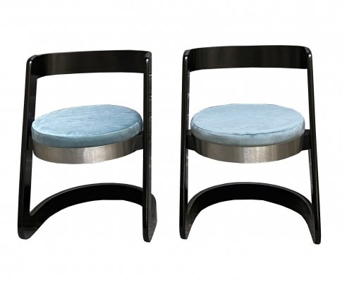 1960's Pair of Black Laquered Wood Willy Rizzo Chairs