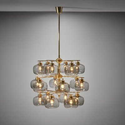 Holger Johansson Chandelier with 18 Smoked Glass Shades for Westal, Sweden 1952