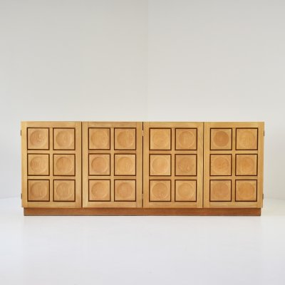Graphical sideboard in oak by De Coene, Belgium 1970's