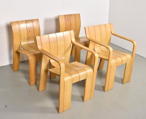Set of 4 Strip chair dining chairs by Gijs Bakker for Castelijn, 1970s