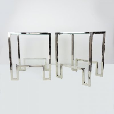 Pair of Chrome & Glass Bedside Tables, 1970s