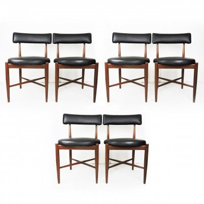 Set of 6 Mid-Century Teak & Vinyl Dining Chairs by G-Plan, 1960s