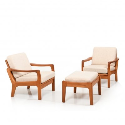Pair of Danish Teak Lounge chairs with Ottoman by Jens-Juul Christensen