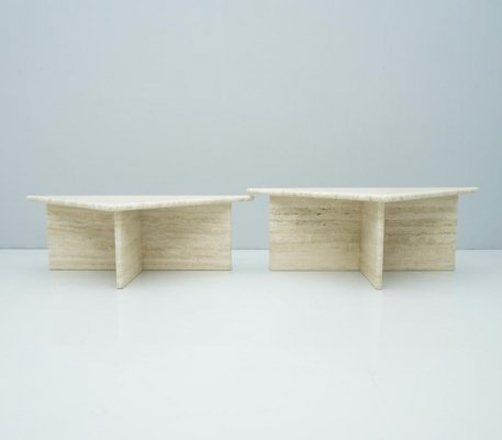 Pair of Triangular Travertine Side or Coffee Tables, Italy 1970s