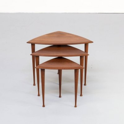 50s Poul Thorsbjerg Jensen teak veneer triangle nesting tables for Selig