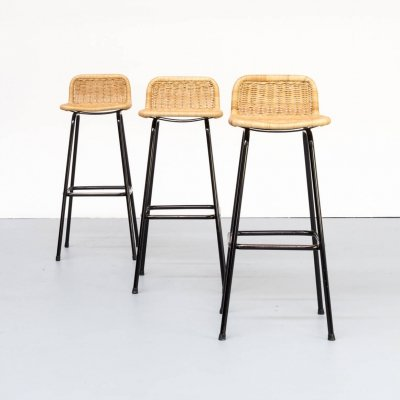 Set of 3 stools with wicker seat for Rohé Noordwolde, 1970s