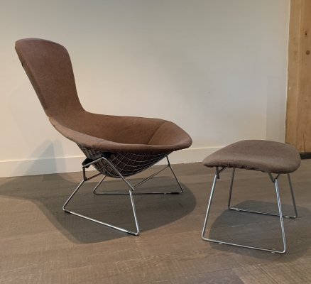 Harry Bertoia bird chair & ottoman by Knoll, 1960s