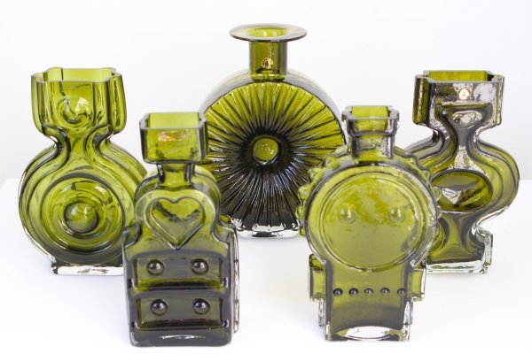 Set of 5 Helena Tynell vases by Riihimaki, Finland 1960s