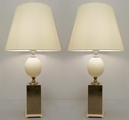 Pair of Ostrich Egg Lamps, 1970s
