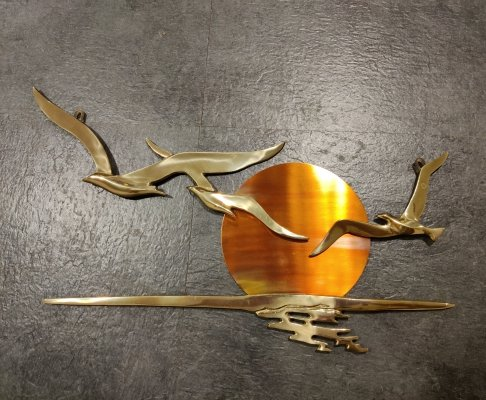Minimalist copper bird sculpture, 1970s