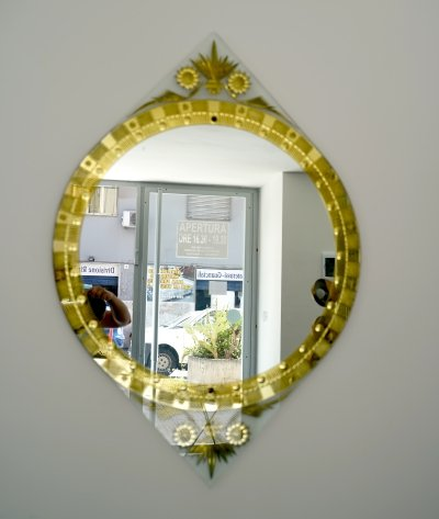 Rare midcentury gold carved mirror by Cristal Art, Italy 1960s
