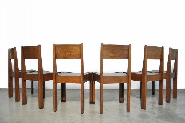 Set of 6 Art Deco / Haagse School oak dining chairs, Netherlands 1930s