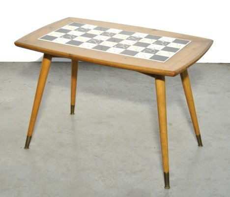 Rare mid-century wooden side table with inlaid tiles, Switzerland 1960s