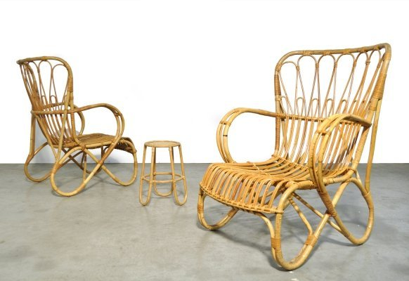Two mid-century rattan armchairs, 1960s