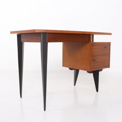 Modernist French middle desk in cherry veneer & exotic wood, 1960's