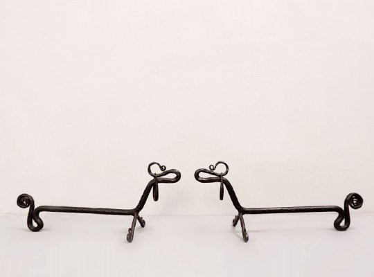 Pair of Wrought Iron Dachshund Andirons, 1970s