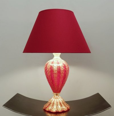 Barovier & Toso Red And Gold Murano Glass Table Lamp, 1950s
