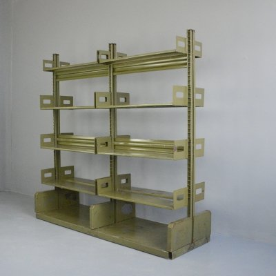 Double Sided Industrial Archive Shelving, Circa 1940s