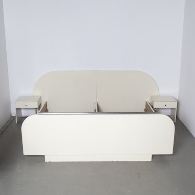 Headboard Bed Frame in cream with chrome tube, 1950s