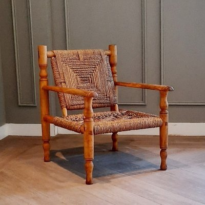 Wood & Rope Lounge Chair, 1960s