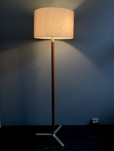Modernistic floor lamp in rosewood & polished steel with original shade