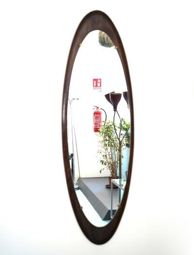 Midcentury Teak Mirror by Franco Campo & Carlo Graffi for Home, Italy 1960s