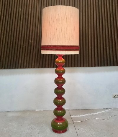 Large German Glazed Ceramic Floor Lamp by Kaiser Leuchten, 1960s