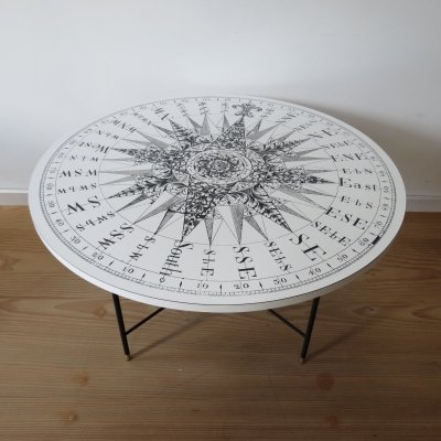 1950s coffee table with Formica Sundial Compass table top