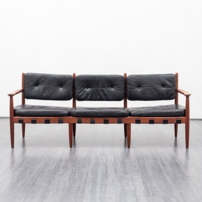 Mid Century teak & leather Model 925 sofa by Sven Ellekaer for Coja, 1960s
