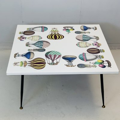 Enamel on Iron Frame 'Mongolfiera' Coffee Table by Fornasetti, 1950s