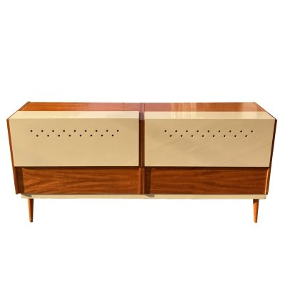 Mid Century Modern Cream Linen Chest by UP Závody, Czechoslovakia 1960s
