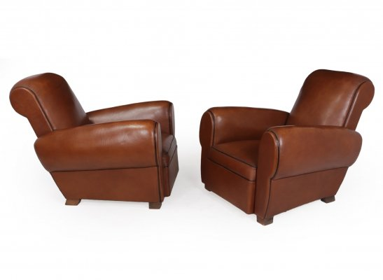 Pair of French Leather Club Chairs, c1940