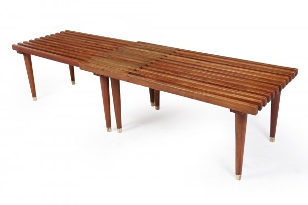 Mid Century Teak Extending Slat Bench / Coffee Table, c1950