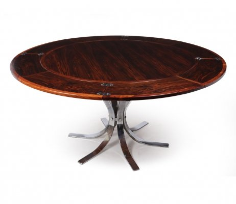 Danish Modern Rosewood Flip Flap Lotus Dining Table by Dyrlund