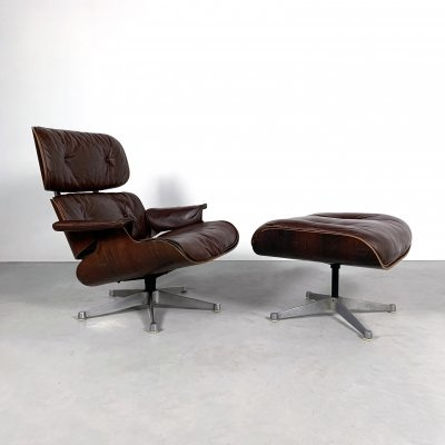 Eames Mod. 670 Rosewood & brown Leather Lounge chair plus ottoman by ICF for Herman Miller, 1960s