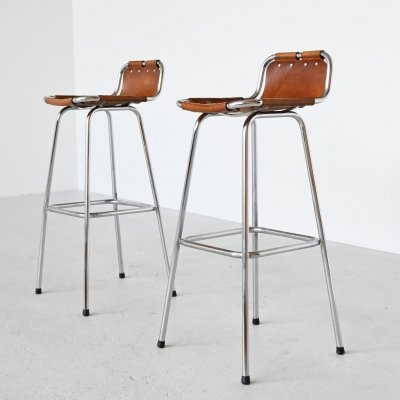 Pair of bar stools selected by Charlotte Perriand for the Les Arcs Ski Resort, France 1960