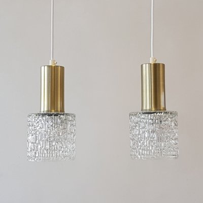 Set of 2 brass & glass hanging lamps by Orrefors, 1960s
