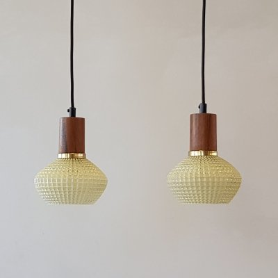 Set of 2 glass hanging lamps by ES Horn Denmark, 1960s