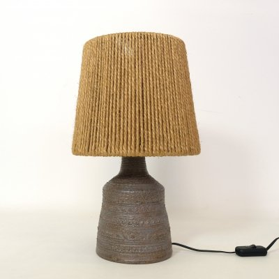 Saint Vicens Stoneware lamp with a rope shade, 1960s